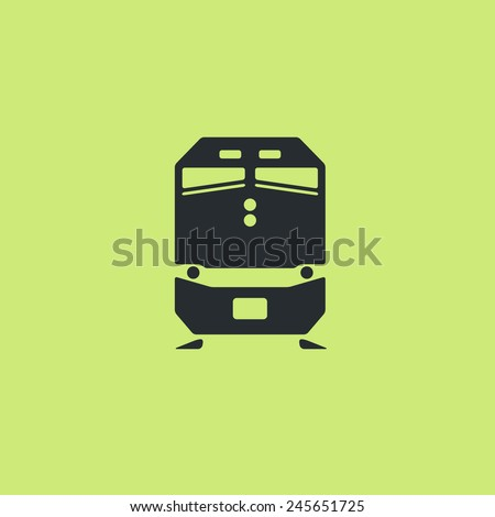 Passenger train icon. Front view, flat pictogram. Classic style commuter and freight train silhouette. For tourist maps, schemes, applications and infographics.  - stock vector