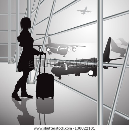 passenger with luggage in airport, black-white - stock vector