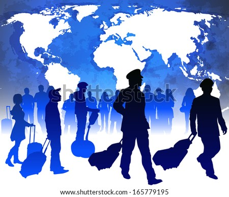 Passengers and airline pilots with luggage in airport  - stock vector