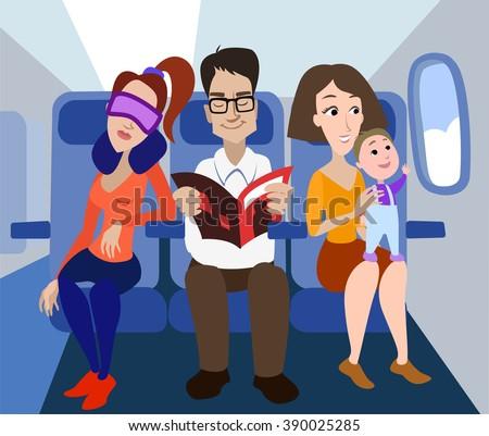 passengers of the airplane. Airplane flight, Airplane passengers.  People in the airplane - stock vector