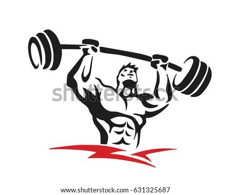 Passionate Body Builder Gym Athlete Logo Stock Vector
