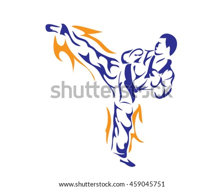 Passionate Sports Athlete In Action Logo - Advanced Taekwondo Kick Technique - stock vector