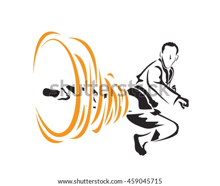 Passionate Sports Athlete In Action Logo - Flying Tornado Taekwondo Kick - stock vector