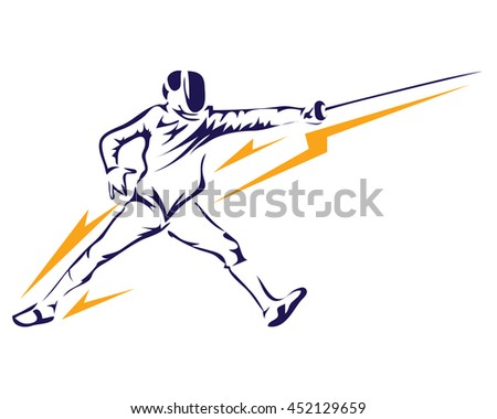 Passionate Sports Athlete In Action Logo - Lightning Professional Fencing Player