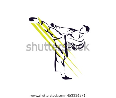 Passionate Sports Athlete In Action Logo - Passionate Shadow Kick Taekwondo - stock vector