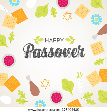 Passover greeting card with seder plate food, flowers and Jewish stars on light background. Matzo, egg, horseradish, meat, parsley. Vector illustration. - stock vector