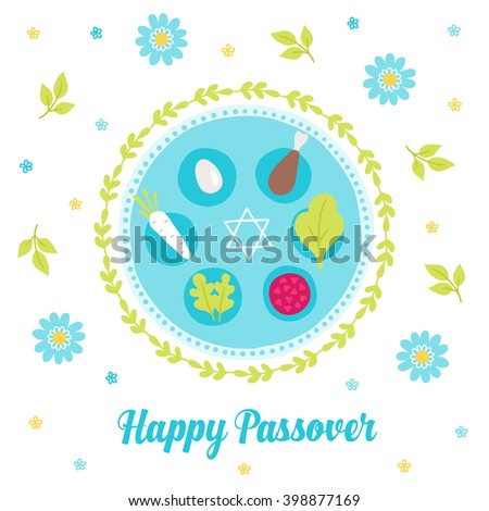 Passover greeting card with seder plate, wreath, branches, Jewish star and flowers. Egg, bone, horseradish, parsley. Pesach tradition symbols. Vector illustration  - stock vector