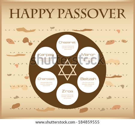 passover plate infographics; greeting of happy passover - stock vector