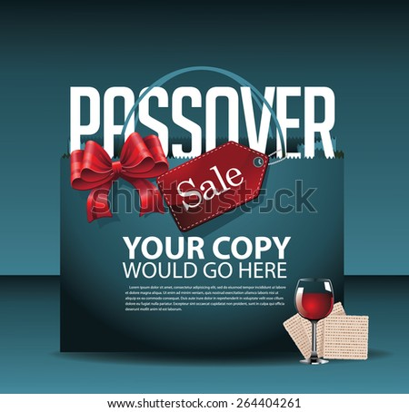 Passover sale shopping bag wine and matzoh background EPS 10 vector royalty free stock illustration for greeting card, ad, promotion, poster, flier, blog, article, social media, marketing - stock vector