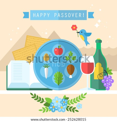 Passover seder plate with flat icons - stock vector