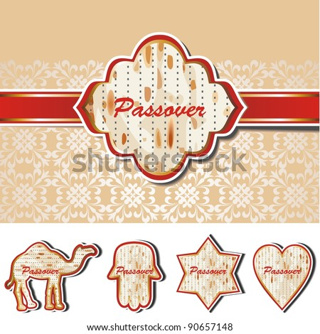 Passover Vector set of five matzoh symbols - stock vector
