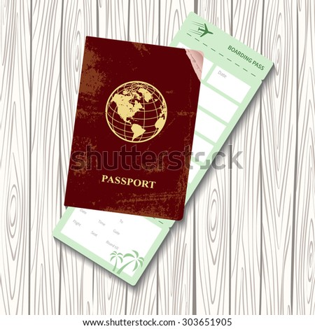 passport and boarding pass vector illustration. Airplane ticket. Identification document - stock vector