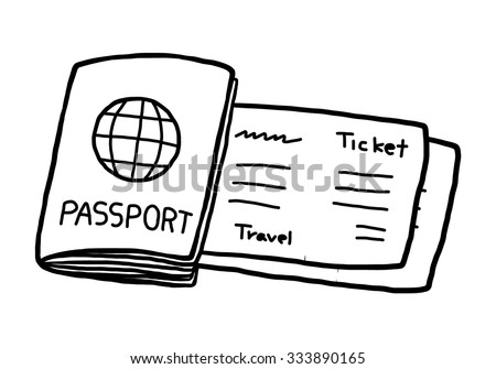 passport and ticket / cartoon vector and illustration, black and white, hand drawn, sketch style, isolated on white background. - stock vector