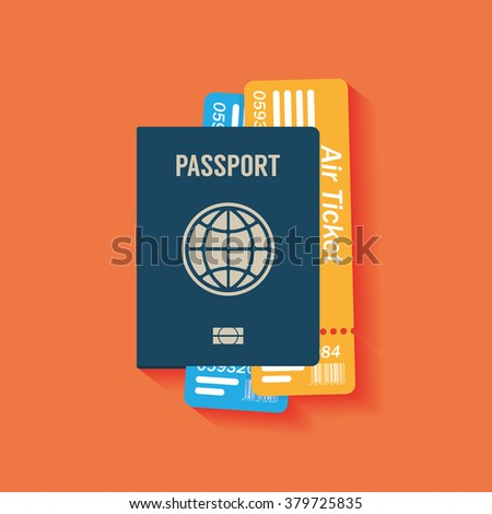 Passport flat icon - stock vector