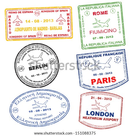 Passport grunge stamps from Athens, Rome, Paris, Berlin, London and Madrid, vector illustration - stock vector