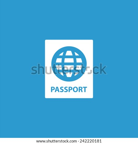 passport icon, isolated, white on the blue background. Exclusive Symbols  - stock vector