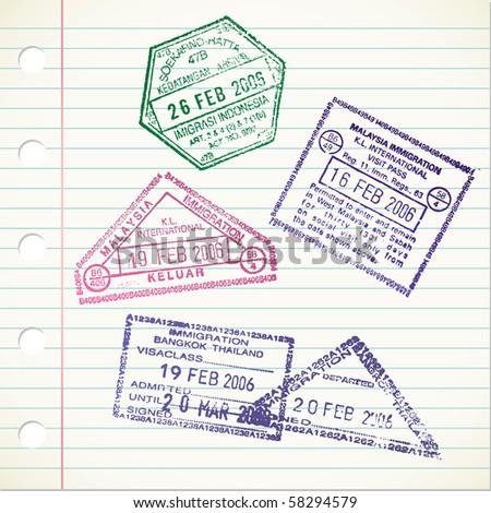 passport stamps - stock vector