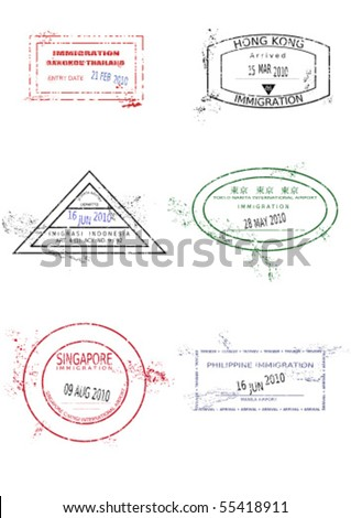 Passport stamps from Asia. Grungy page with scalable grunge stamps (not real). Asia destinations: Bangkok (Thailand), Hong Kong, Jakarta (Indonesia), Tokyo (Japan), Singapore, Manila (Philippines). - stock vector