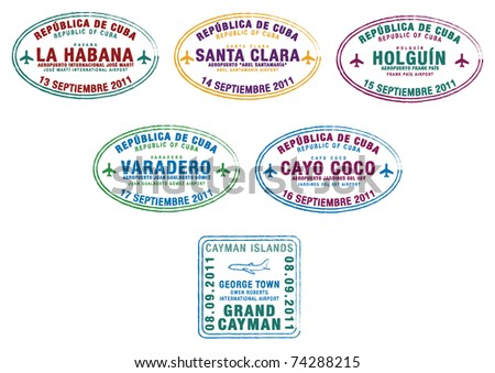 Passport stamps from Cuba and the Cayman Islands in the Caribbean in vector format. - stock vector