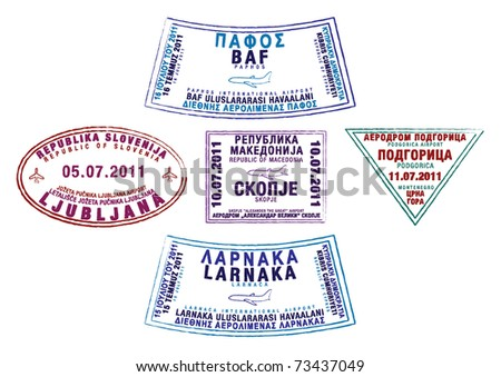 Passport stamps from Cyprus, Slovenia, Macedonia and Montenegro in vector format.
