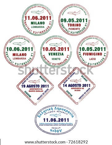 Passport stamps from France, Italy and Greece in vector format.