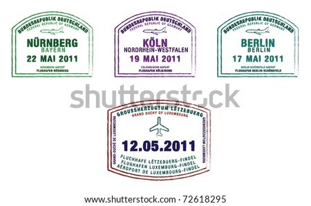 Passport stamps from Germany and Luxembourg in vector format.