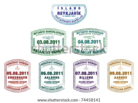 Passport stamps from Iceland, Greenland and Denmark in vector format. - stock vector