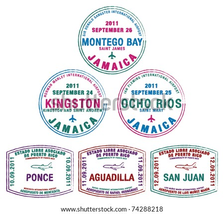 Passport stamps from Jamaica and Puerto Rico in the Caribbean in vector format. - stock vector