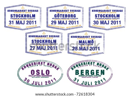 Passport stamps from Sweden and Norway in vector format.