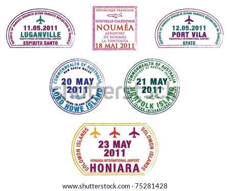 Passport stamps from the western Pacific Island countries in vector format. - stock vector