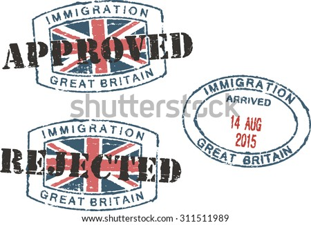 Passport stamps ''Immigration-approved/rejected-Great Britain''. - stock vector