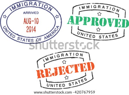 Passport stamps ''Immigration-United States-Approved/Rejected'' - stock vector