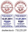 Passport stamps of Czech Republic and Slovakia in vector format. - stock vector