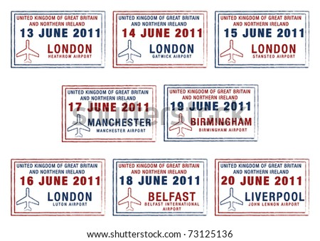 Passport stamps of the UK and Northern Ireland in vector format.