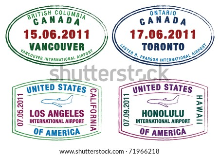 Passport stamps of the US and Canada in vector format. - stock vector