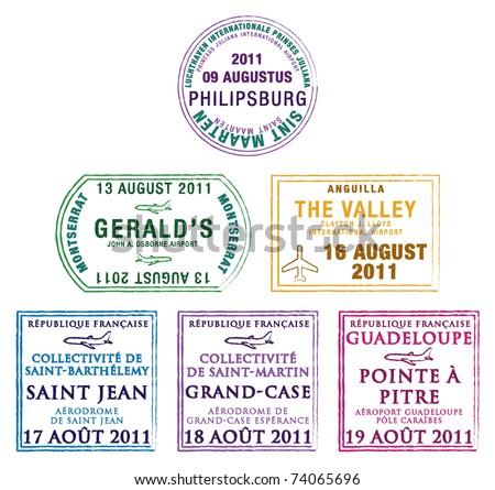 Passport stamps of the Windward Islands in the Caribbean in vector format. - stock vector