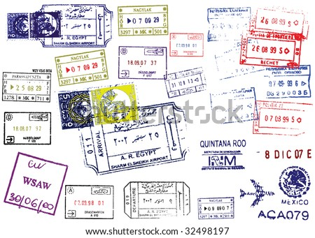 Passport Stamps. This image is a vector illustration and can be scaled to any size without loss of resolution. - stock vector