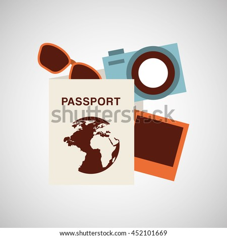 passport travel camera sunglasses isolated, vector illustration eps10 - stock vector