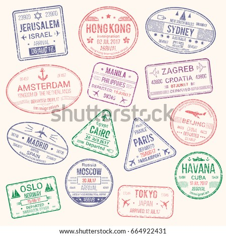 Passport travel stamps icons with city names Jerusalem, Hong Kong, Sydney, Amsterdam and Zagreb, Paris or Havana, Beijing or Madrid and Moscow. Vector isolated set of country migration arrival entry
