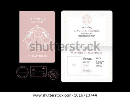 Passport wedding invitation card template vectorillustration stock passport wedding invitation card template vectorillustration stopboris Gallery