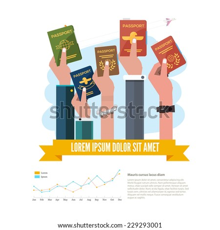 passport with hand. infographic - vector illustration - stock vector