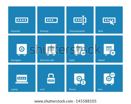 Password icons on blue background. Vector illustration. - stock vector
