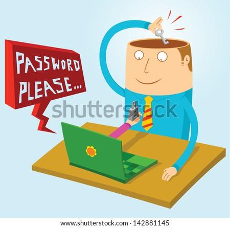 password in my mind - stock vector