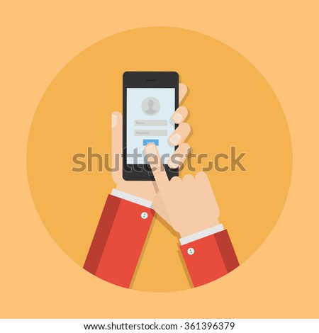 Password phone vector illustration. Login mobile app. Enter the your account concept. Phone security design. Password protection. Access to phone in flat style. Password security. - stock vector