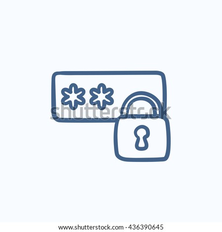 Password protected vector sketch icon isolated on background. Hand drawn Password protected icon. Password protected sketch icon for infographic, website or app. - stock vector