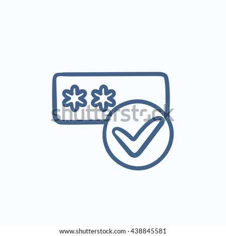 Password with check mark vector sketch icon isolated on background. Hand drawn Password with check mark icon. Password with check mark sketch icon for infographic, website or app. - stock vector