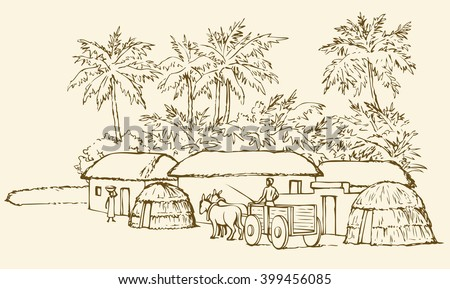 Past biblic babel aged jungle rural tribe adobe. Early arabic peasant slave job scene. Old clay mud abode, round thatch shack barn, donkey wagon. Vector outline hand draw picture sketch in retro style - stock vector