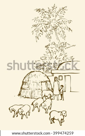 Past biblical babylon aged tropical rural tribe adobe. Early arabian peasant slave job ram breeding herd farm. Old clay mud abode, round thatch barn shelter. Outline draw picture sketch in retro style - stock vector