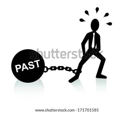 past burden concept, man dragging chains and big ball  - stock vector