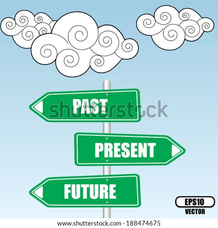 Past Present And Future Signpost design over sky and cloud background - vector illustration. - stock vector